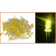 Yellow Leds 3mm (Light Emitting Diodes). Pack of 100 Leds.