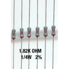 1.82K Ohm Metal Film Resistors 1/4W 1%. (Pack of 50)