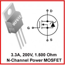 IRF610 N-Channel MOSFET 200V 3.3A. Pack of 15 pieces.
