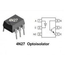 4N27 Optoisolator, Optocoupler ICs 6pin DIP (5 pieces pack)
