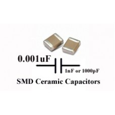 0.001uF SMD/SMT Ceramic Capacitor 50V. (Pack of 50)