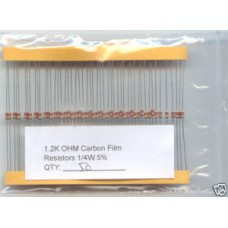 1.2K Ohm Carbon Resistors 1/4W 5%. (Pack of 50)