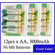 Ni-MH Rechargeable Batteries, AA Size, 3000mAh. (Pack of 12)