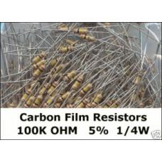 100K Ohm Carbon Film Resistors 1/4W 5%. (Pack of 50)