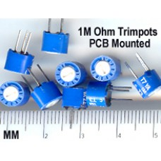1M Ohm trimmer, potentiometer, PCB Mount Adj. Resistor (Pack of 10)
