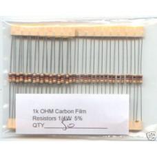 1K Ohm Carbon Film Resistors 1/4W 5%. (Pack of 50)