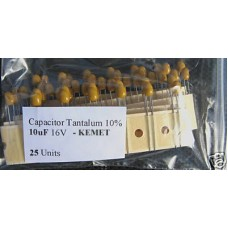 10uF 2.5mm 16V Tantalum Capacitors. Kemet. (Pack of 25).