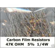 47K Ohm Carbon Film Resistors 1/4W 5%. (Pack of 50)