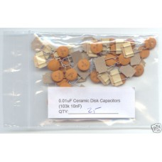 0.01uF (103K 10nF) Ceramic Disk Capacitors. (Pack of 25)