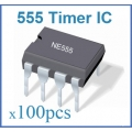 555 TIMER ICs 8-PIN DIP. (100 ICs pack). LM555/NE555/SA555