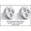 12V LED Downlights, MR16 base, Spotlights  3W. (Pack of two)