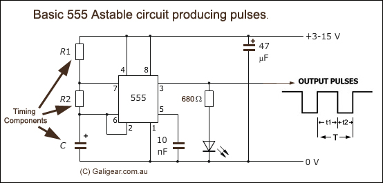 555 timing and pulse circuits, astable and monostable