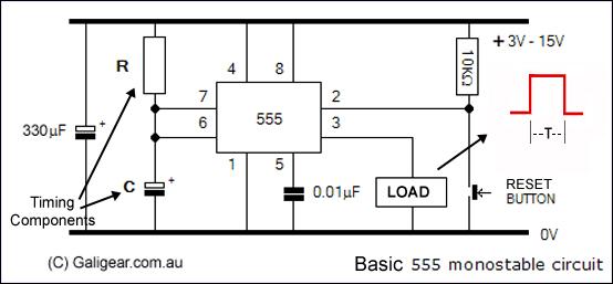 555 on shot monostable circuit lm555 ne555