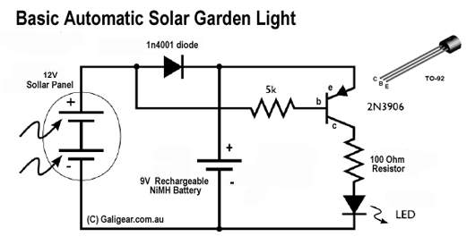 automatic solar garden light circuit with darkness detection